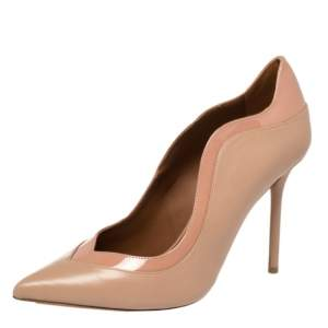 Malone Souliers Beige Patent Leather and Leather Penelope Pumps Size 38