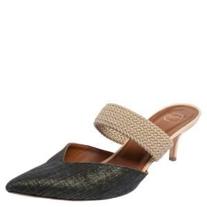 Malone Souliers Grey/Beige  Canvas Maisie Mule Sandals Size 41