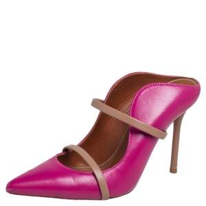 Malone Souliers Pink Leather Maureen Pointed Toe Mules Size 35