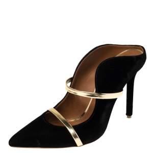 Malone Souliers Black Velvet Maureen Mule Sandals Size 39