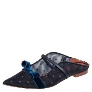 حذاء فلات سلايد مالون سولييه باي روي لوولت مارغريت شبك وقطيفة أزرق مزين بفيونكة مقاس 38.5