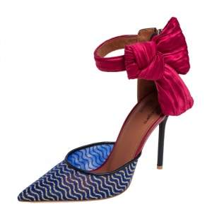 Malone Souliers Multicolor Leather and Glitter Mesh Ankle Bow D' Orsay Pumps Size 37