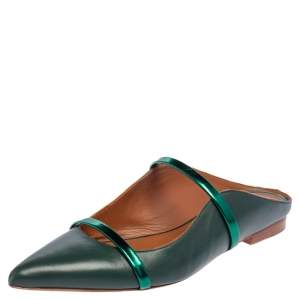 Malone Souliers Green Leather Maureen Flats Size 38