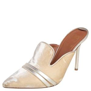 Malone Souliers by Roy Luwolt Gold Velvet and Leather Hayley Mules Size 36