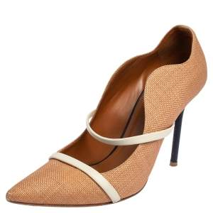 Malone Souliers Beige Raffia and Leather Maureen Pointed Toe Pumps Size 39