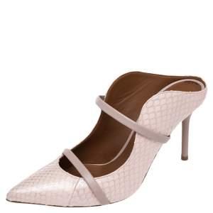 حذاء سلايد مالون سولييه ماورين جلد إيلافي فضي/وردي مقدمة مدببة مقاس 37.5