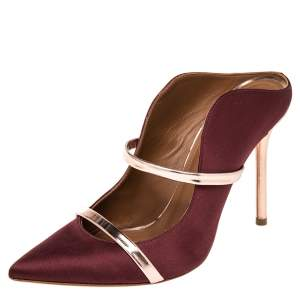 Malone Souliers Burgundy Satin And Leather Maureen Pointed Toe Mule Sandals Size 37