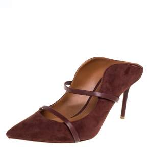 Malone Souliers Brown Suede and Leather Maureen Mules Size 42