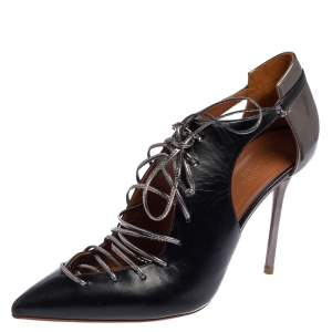 Malone Souliers Black Leather Montana Pointed Toe Lace Up Booties Size 41