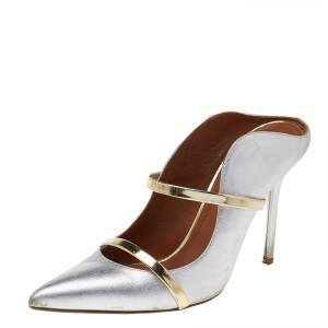 Malone Souliers Silver/Gold Patent And Leather Maureen Mules Size 39