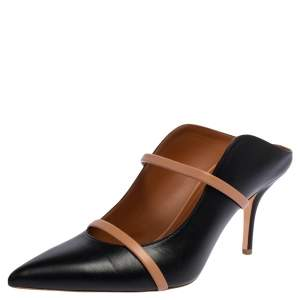 Malone Souliers Black Leather Maureen Pointed Toe Mules Size 41