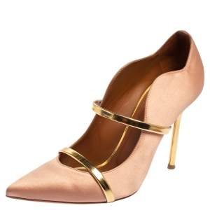 Malone Souliers Beige Satin Maureen Pointed Toe Pumps Size 39