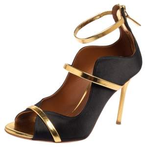 Malone Souliers Gold/Black Satin and Leather Mika Triple Band Peep Toe Pumps Size 37.5