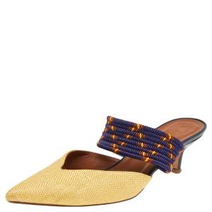 Malone Souliers Gold/Blue Fabric Maisie Mules Sandals Size 37.5