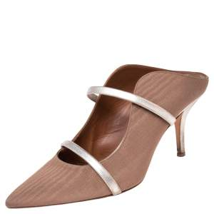 Malone Souliers Metallic Gold/ Brown Fabric And Leather Maureen Pointed Toe Mules Size 38.5