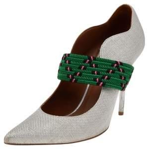 Malone Souliers Grey Woven Fabric Mara Mule Sandals Size 39.5