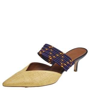 Malone Souliers Yellow/Purple Raffia And Fabric Maisie Mules Size 40