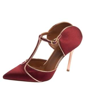 Malone Souliers Burgundy/Rose Gold Satin and Leather Trim Imogen Pumps Size 36