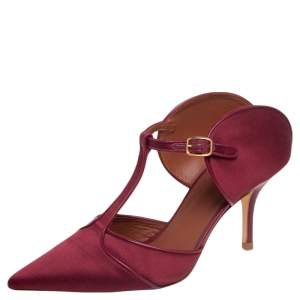 Malone Souliers Burgundy Satin and Leather Trim Imogen Pumps Size 39