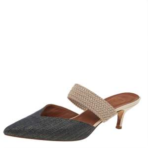Malone Souliers  Blue/Beige Canvas And Raffia Maisie Pointed Toe Mules Size 38