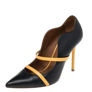 Malone Souliers Yellow/Navy Blue Leather Maureen Pointed Toe Pumps Size 36.5