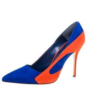 حذاء كعب عالى مانولو بلانيك مقدمة مدببة ماندوكا سويدى برتقالى/ أزرق مقاس 37.5