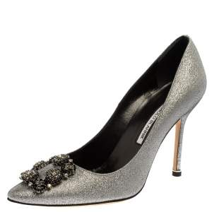 Manolo Blahnik Silver Lurex Hangisi Pointed Toe Pumps Size 38.5