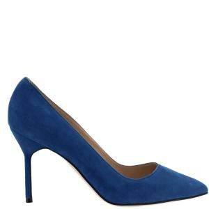 Manolo Blahnik Blue Suede BB Pointed Toe Pumps Size IT 37