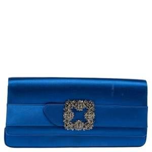 Manolo Blahnik Royal Blue Satin Gothisi Buckle Clutch
