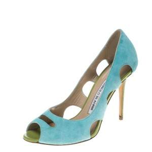 Manolo Blahnik Aqua Green Suede Cutout Peep Toe Pumps Size 35.5