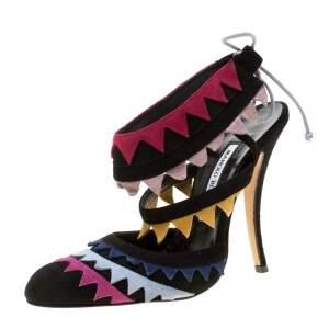 Manolo Blahnik Multicolor Suede Anastasia Sandals Size 38