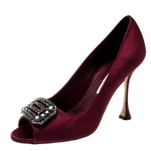 Manolo Blahnik Burgundy Satin Matik Crystal Embellished Peep Toe Pumps Size 38.5