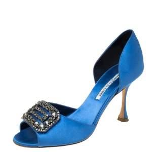 Manolo Blahnik Blue Satin Alicia Embellished Peep Toe Sandals Size 37