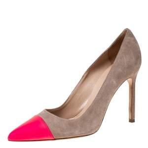 Manolo Blahnik Beige Suede And Pink Leather Bipunta Cap-Toe Pumps Size 36