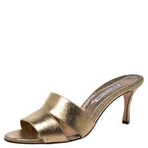 Manolo Blahnik Metallic Gold Leather Open Sandals Size 42