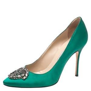 Manolo Blahnik Green Satin Okkaava Emerald Pumps Size 40