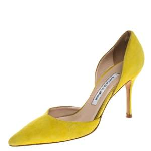 Manolo Blahnik Yellow Suede Tayler D'orsay Pointed Toe Pumps Size 37