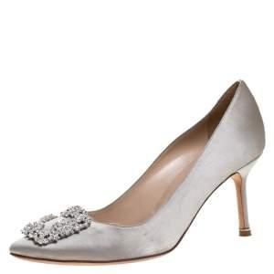 Manolo Blahnik Grey Satin Hangisi Crystal Embellished Pumps Size 38