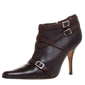 Manolo Blahnik Brown Leather Euodus Pointed Toe Booties Size 37.5