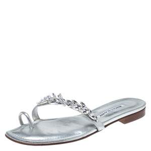 Manolo Blahnik Silver Crystal Embellished Toe Ring Slide Flats Size 38.5