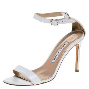 Manolo Blahnik White Leather Chaos Open Toe Ankle Strap Sandals Size 38