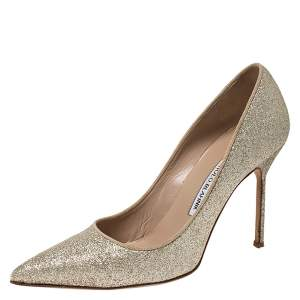 Manolo Blahnik Gold Glitter BB Pointed Toe Pumps Size 39.5