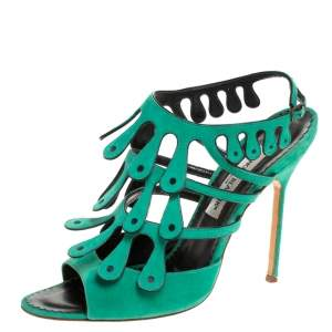 Manolo Blahnik Green Suede Strappy Ankle Strap Sandals Size 41