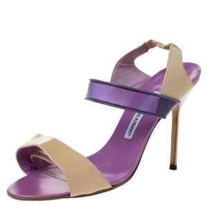 Manolo Blahnik Purple/Beige Patent Leather and PVC Slingback Sandals Size 38.5