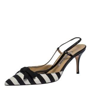 Manolo Blahnik Black/White Stripe Canvas and Leather Galop Halter Sandals Size 41