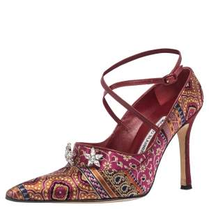 Manolo Blahnik For Neiman Marcus Pink/Blue Brocade Fabric Crystal Embellished Pointed Toe Pumps Size 37.5