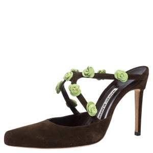 Manolo Blahnik Brown Suede And Green Rose Embellished Pointed Toe Mules Size 37