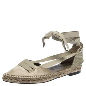 Castaner By Manolo Blahnik Grey Satin And Canvas  Espadrille Pointed Toe Ankle Tie Flat Sandals Size 37