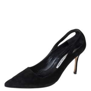 Manolo Blahnik Black Suede Cut Out Detail Pointed Toe Pumps Size 39
