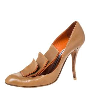 Manolo Blahnik Tan Leather Ruffle Embellished Pumps Size 40